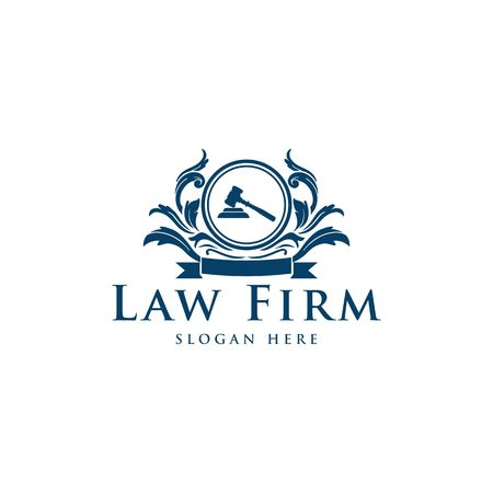 Blue law firm vector logo template.