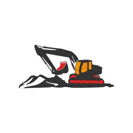Isolated excavator vector illustration.