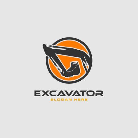 Excavator in an orange circle frame vector logo template.