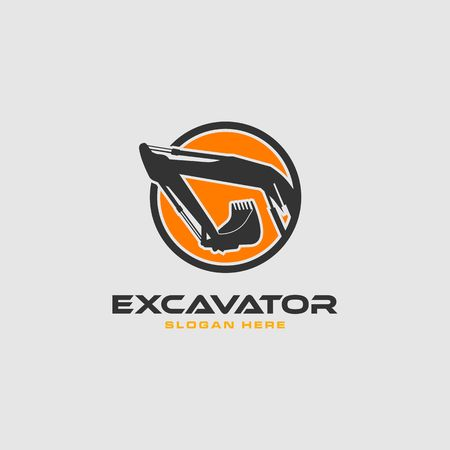 Excavator in an orange circle frame vector logo template.