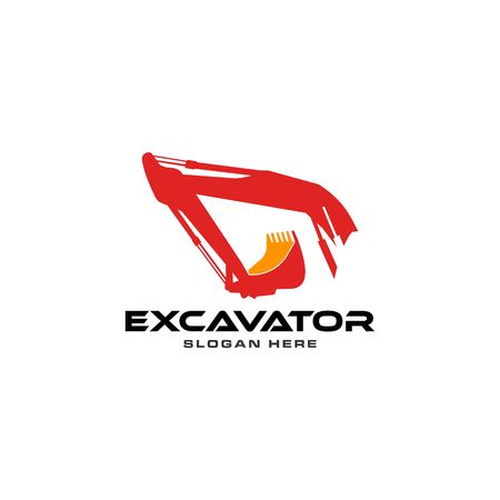 Red excavator vector logo template.