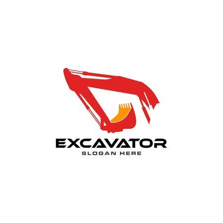 Red excavator vector logo template.