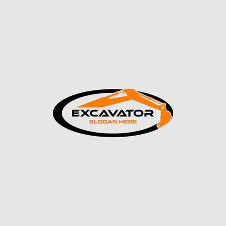 Orange excavator in an oval frame vector illustration.  イラスト・ベクター素材