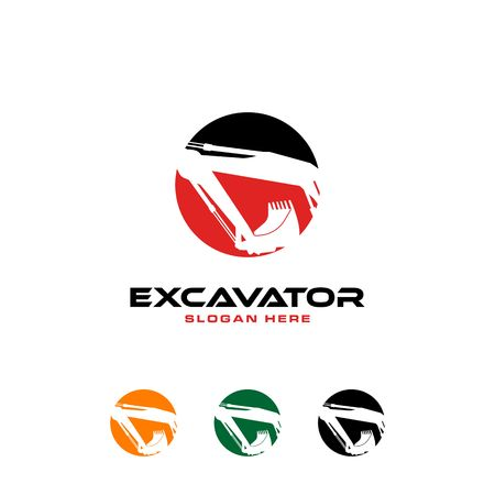 White excavator silhouettes with circular frames in different colors. Illustration