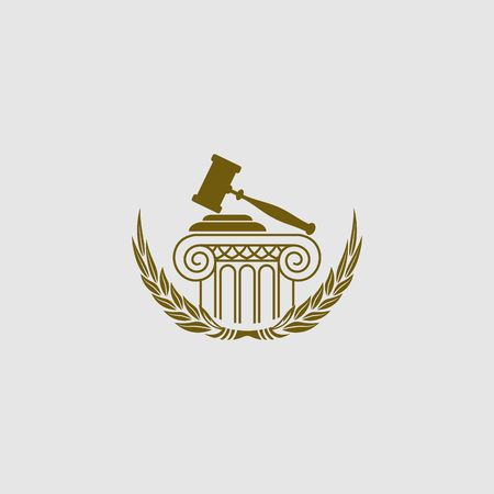 Gold luxury law logo template.  イラスト・ベクター素材