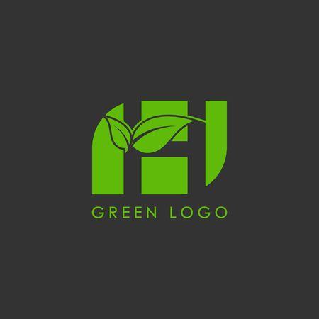 Initials H icon logo design, nature green leaf symbol.