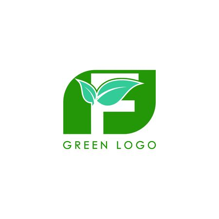 Initials F icon logo design, nature green leaf symbol. Illustration