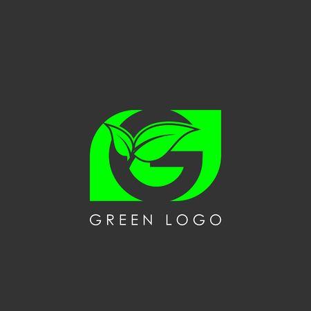 initials G icon logo design, nature green leaf symbol Ilustração