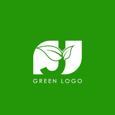 initials J icon logo design, nature green leaf symbol Illustration