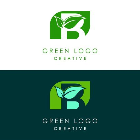 Initials B icon logo design, nature green leaf symbol. Banco de Imagens - 102081436