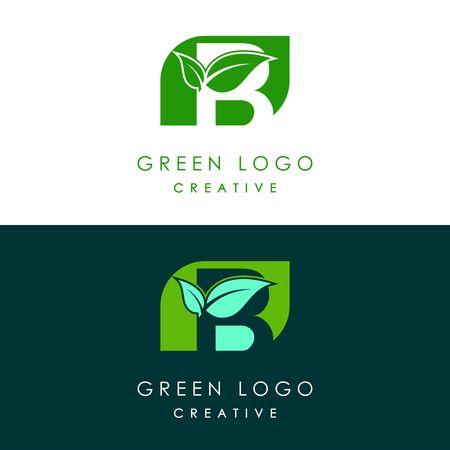 Initials B icon logo design, nature green leaf symbol.