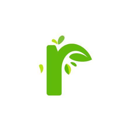 Initials R icon logo design, nature green leaf symbol.  イラスト・ベクター素材