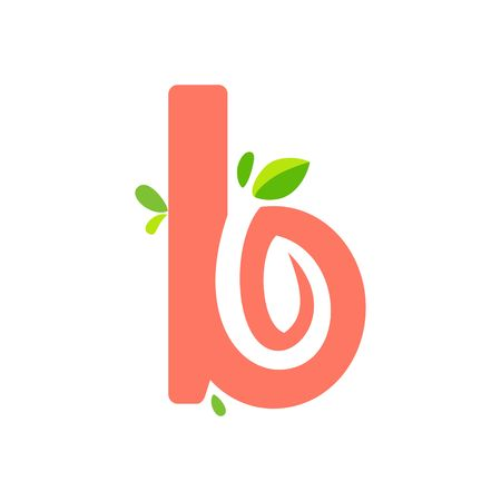 initials B icon logo design, nature green leaf symbol