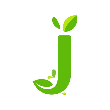 J icon logo design, nature green leaf symbol