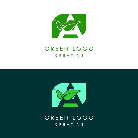 Initials A icon logo design, nature green leaf symbol.