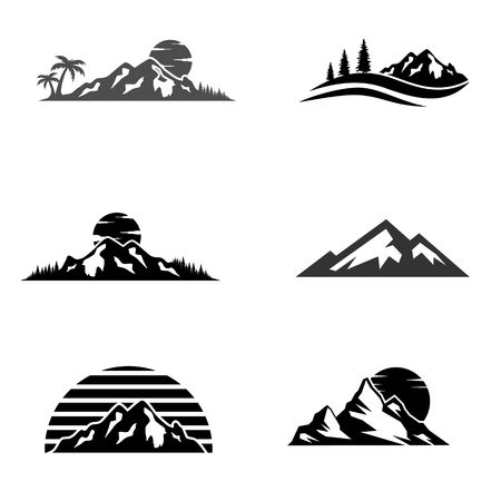 Mountains and travel icon illustration Illustration