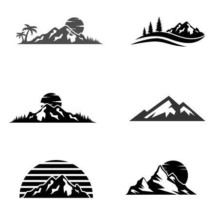 Mountains and travel icon illustration Illustration