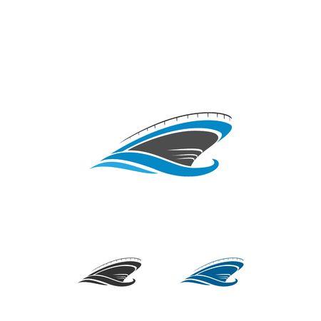 Boat travel, island, beach icon vector illustration. Ilustração