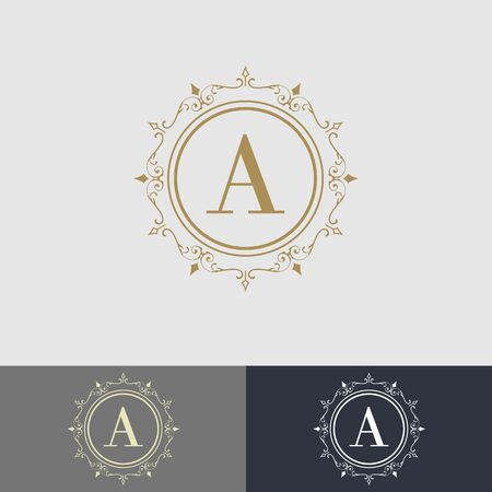 Luxury brand, Real Estate, crest icon. Golden vector icon design template.