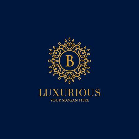 Luxury brand, Real Estate, crest icon. Golden vector logo design template. Ilustração