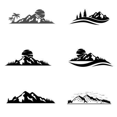 Set of vector mountain and outdoor adventures icon. Tourism, hiking and camping labels. Mountains and travel icons. Ilustração