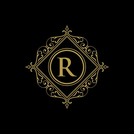 Royalty border with calligraphy letter R illustration