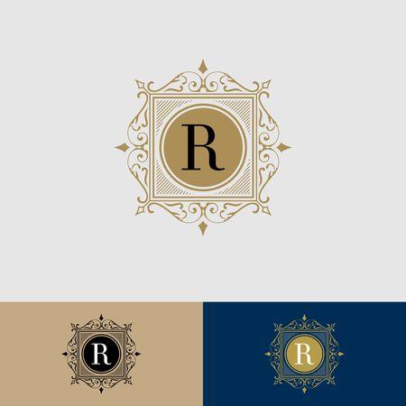 Borde de realeza con caligrafía letra R ilustración Foto de archivo - 98412358