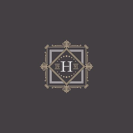 Royalty border with calligraphy letter H illustration