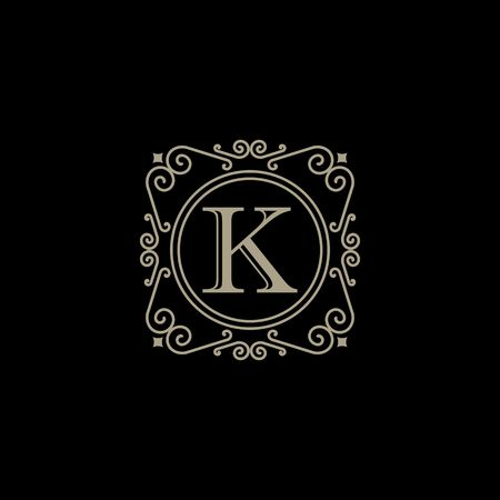 Royalty border with calligraphy letter K illustration