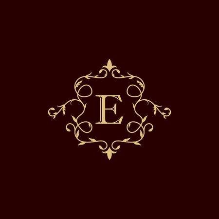 Royalty border with calligraphy letter E illustration  イラスト・ベクター素材
