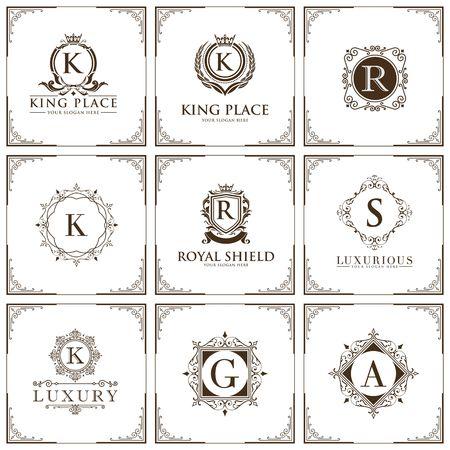 luxury brand set logo template Vector illustration