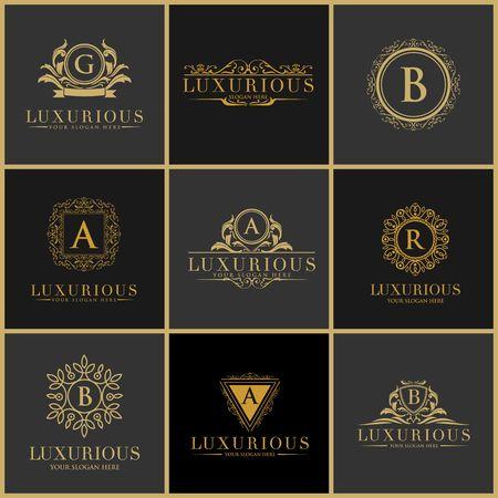 luxury brand set  logo template Vector illustration.