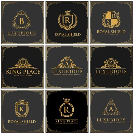Luxury brand set icon illustration