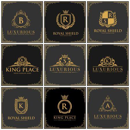 Luxury brand set icon illustration