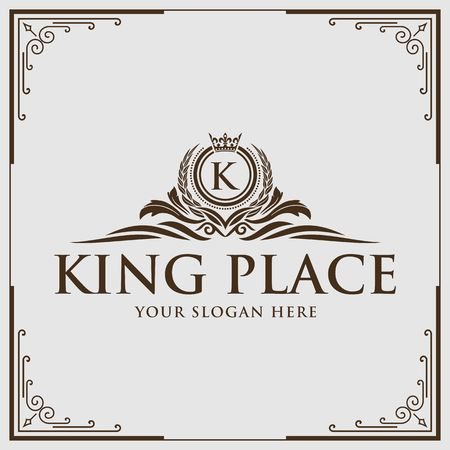 Letter K calligraphy on royalty design border illustration