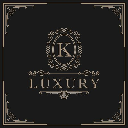 Letter K calligraphy on royalty design border illustration
