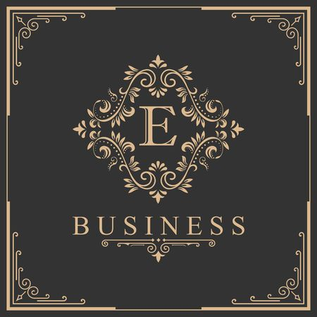 Letter E calligraphy on royalty design border illustration