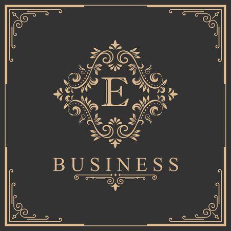 Letter E calligraphy on royalty design border illustration