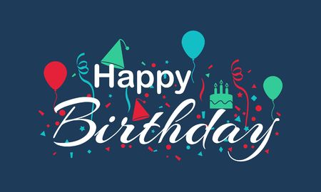 Happy birthday calligraphy lettering illustration Vectores