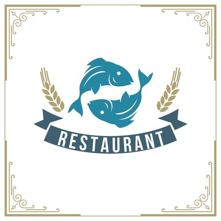 Seafood restaurant icon illustration  イラスト・ベクター素材
