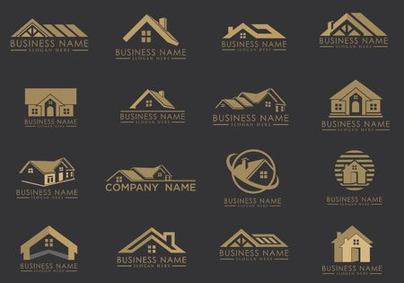 Real estate building icons image illustration