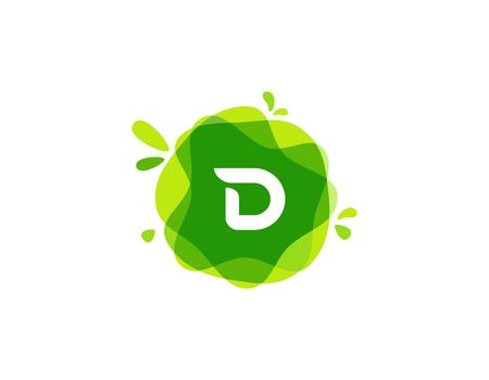 Letter D at green watercolor splash background. green nature vector