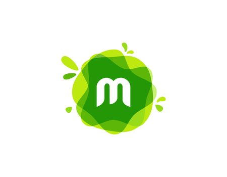 Letter M logo at green watercolor splash background. green nature logo vector  イラスト・ベクター素材