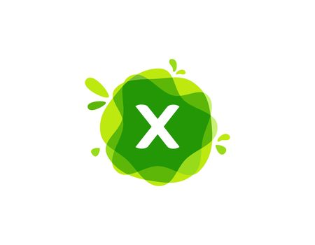 Letter X logo at green watercolor splash background. green nature logo vector Imagens - 98187331