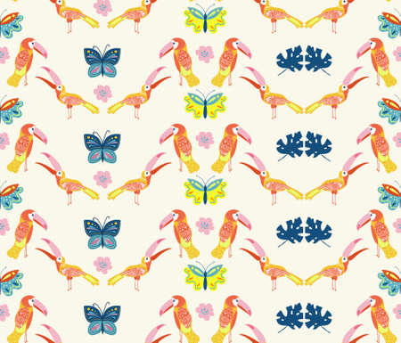 Vector illustration with toucans and butterflies. Hand drawn drawing about birds and insects. Seamless pattern for boys and girls. Children's design template for fabrics and textiles