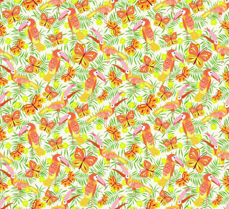 Vector illustration with toucans and butterflies. Hand drawn drawing about birds and insects. Seamless pattern for boys and girls. Children's design template for fabrics and textiles Zdjęcie Seryjne - 162207158