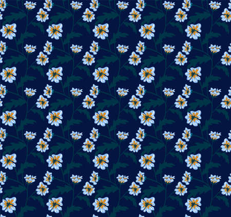 Vector seamless pattern with small blue flowers. Light floral background