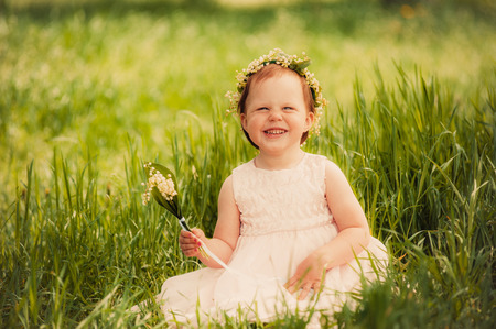 funny girl outdoors child smiling photo