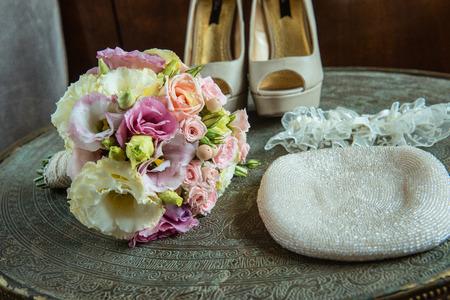 copper background: bridal accessories