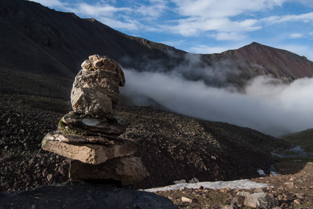 cairn: Cairn in a mountain valley